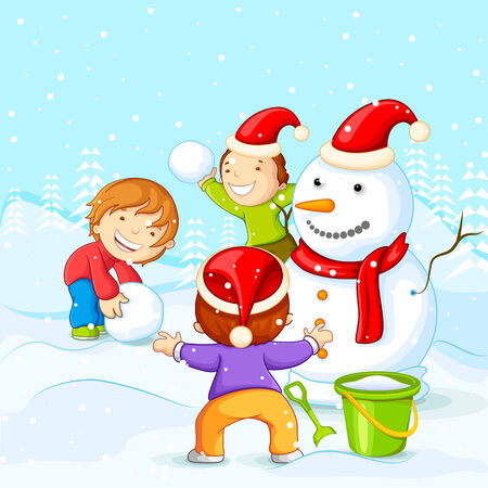 vector illustration of kids making Snowman for Christmas illustration