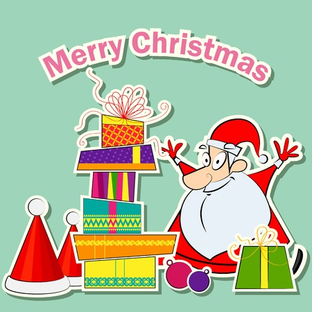 vector illustration of Santa with Christmas Gift illustration