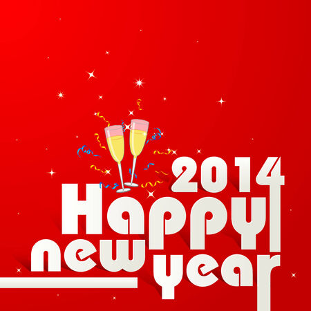 vector illustration of Happy New Year 2014 with Champagne Glass illustration