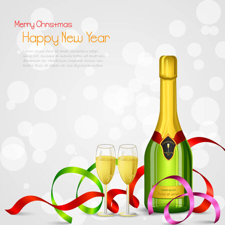 vector illustration of champagne bottle and glass with ribbon illustration