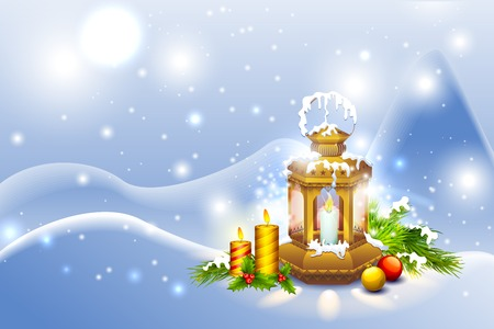 vector illustration of Lantern in Christmas Night with candle illustration