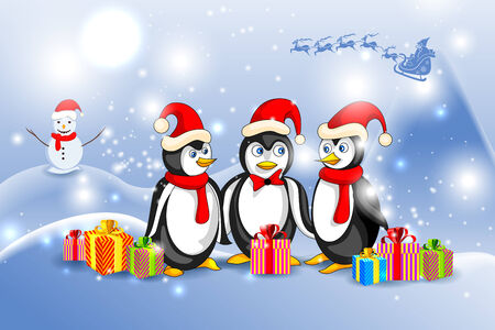 vector illustration of Penguin in Christmas Night illustration