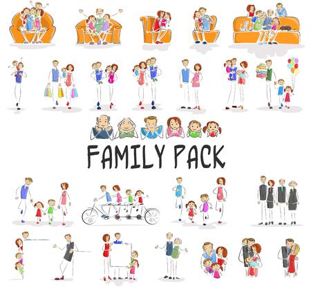illustration vectorielle de paquet de famille de caractère faisant différentes activités