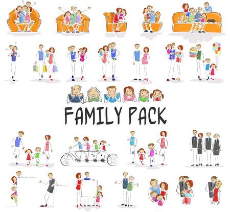 baby grand: vector illustration of family pack with character doing different activities