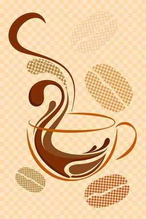 chicchi di caff?: illustrazione vettoriale di tazza di caffè caldo su sfondo astratto Archivio Fotografico