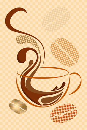 coffee and beans: vector illustration of cup of hot coffee on abstract background Stock Photo