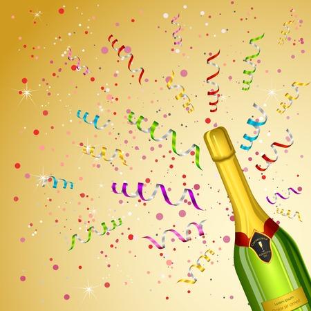 blast: vector illustration of Champagne Bottle on party background