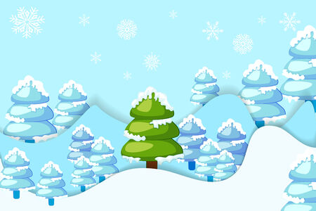 hilly: vector illustration of snowy pine tree in hilly landscape