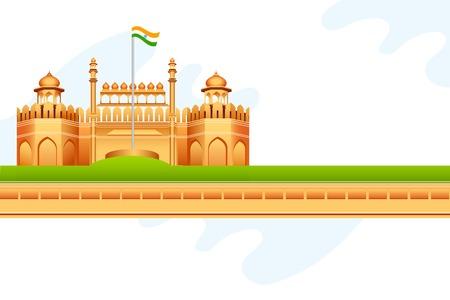 constitucion: ilustración vectorial de bandera tricolor india en Fuerte Rojo en la India