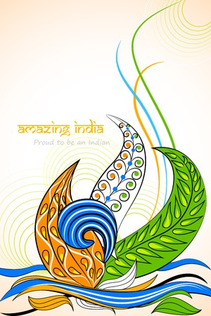 tri color: vector illustration of Amazing India with tri color floral