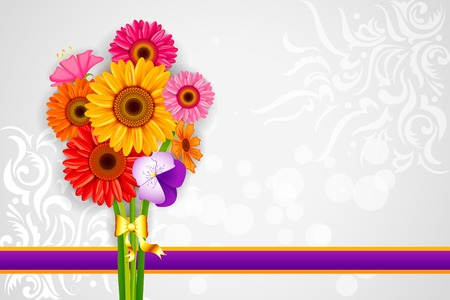 gerber flowers: vector illustration of colorful Flower background