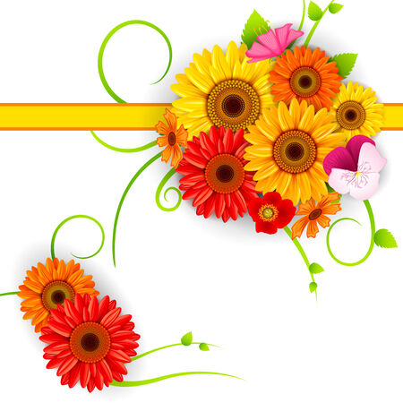 bunch of flowers: vector illustration of colorful Flower background