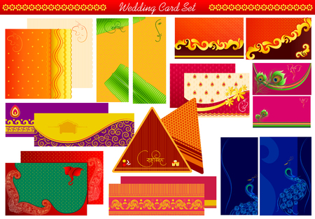 vector illustration of Indian wedding invitation card illustration
