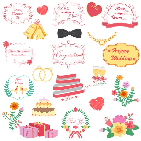 vector illustration of happy wedding design illustration