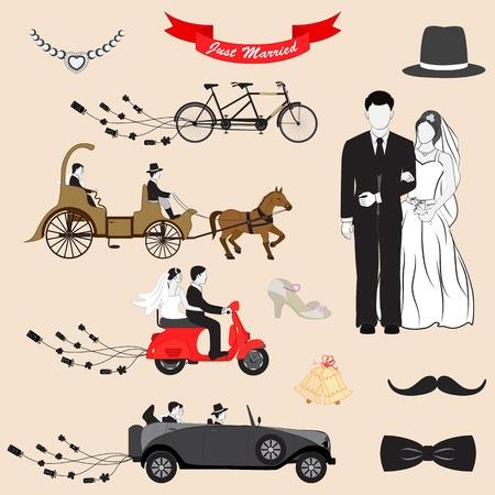 vector illustration of Just Married design set illustration