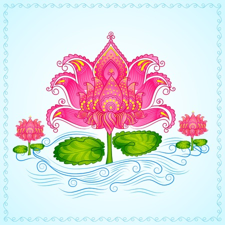 vector illustration of Decorated Lotus Flower illustration