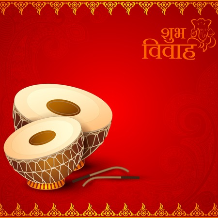 vivah: vector illustration of Drum in Indian Wedding Invitation Card Stock Photo