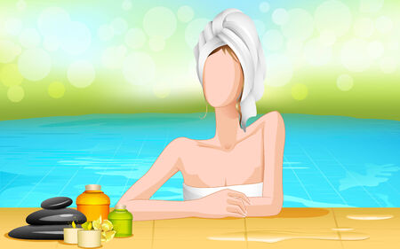 vector illustration of lady in spa pool