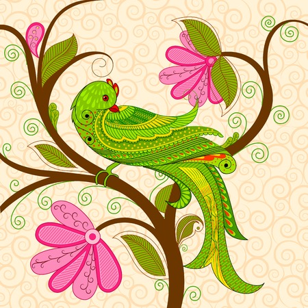 vector illustration of colorful decorated parrot illustration