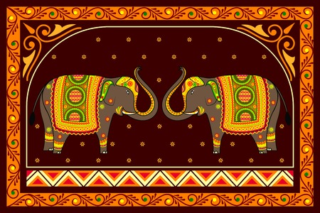 indian elephant: vector illustration of decorated elephant
