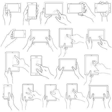 rotate: vector illustration of collection of Hand Gesture for Touchscreen