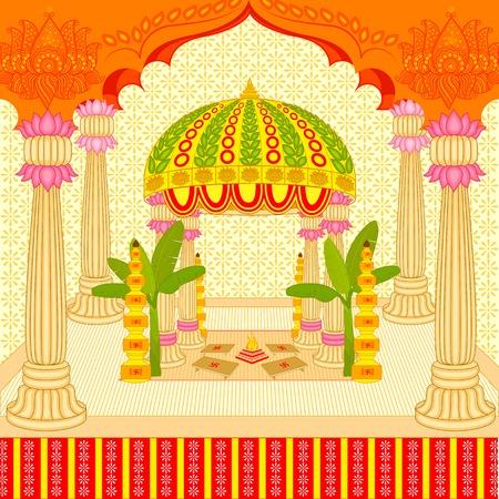 vector illustratie van de Indiase bruiloft mandap (podium) Stockfoto