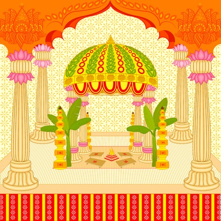 asian wedding couple: vector illustration of Indian wedding mandap (stage)
