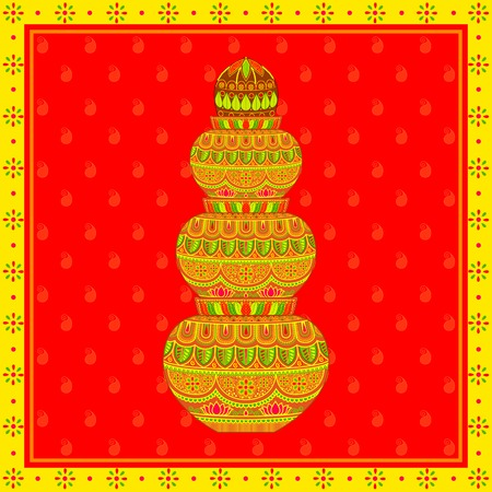vector illustration of decorated mangal kalash Stock Photo