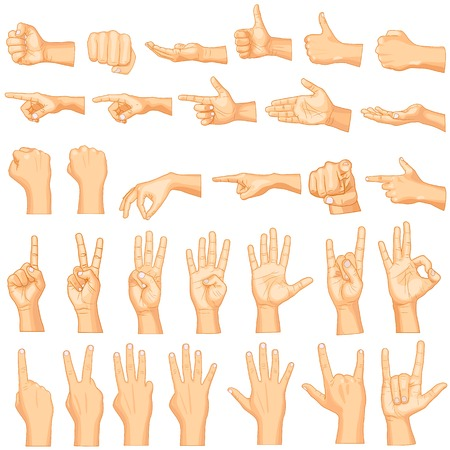 vector illustration of collection of hand gestures Imagens
