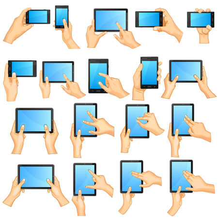 flick: vector illustration of collection of Hand Gesture for Touchscreen