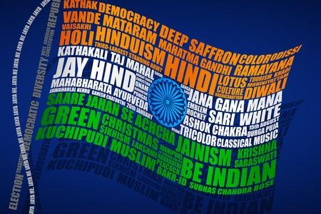 constitucion: ilustración vectorial de la bandera de la India en estilo de la tipografía