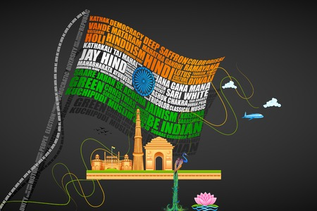 red indian: vector illustration of India Background with Monuments