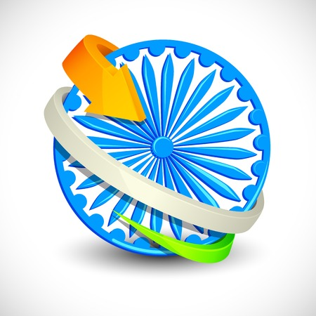vector illustration of Tricolor Arrow around Ashoka Chakra