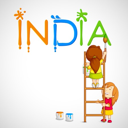 creative freedom: vector illustration of kids painting tricolor India Stock Photo