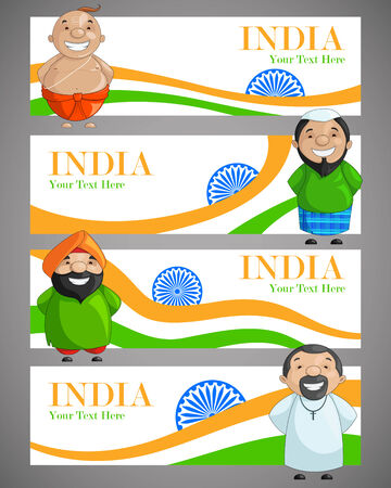 vector illustration of Indian people of different caste forming India illustration