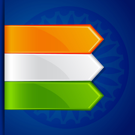 ashok: vector illustration of India Tricolor Label Tag for promotion