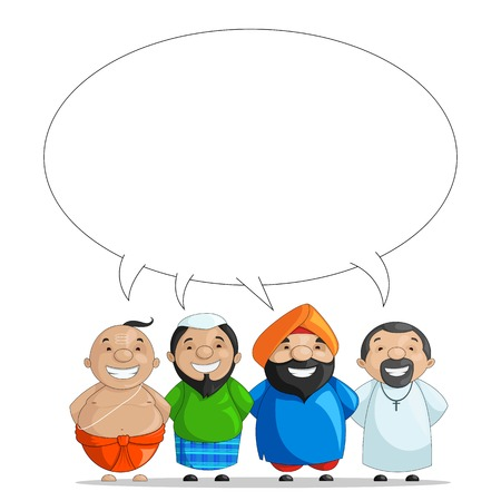 vector illustration of Indian people of different culture standing together illustration