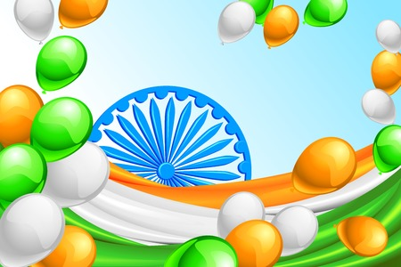 chakara: vector illustration of in Indian Tricolor balloon and flag of India