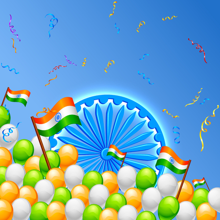 vector illustration of in Indian Tricolor balloon with flag illustration
