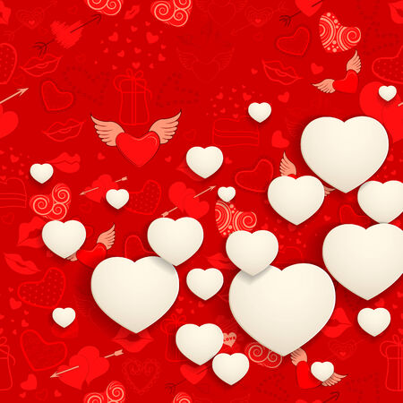 amour: vector illustration of paper heart on love background Stock Photo