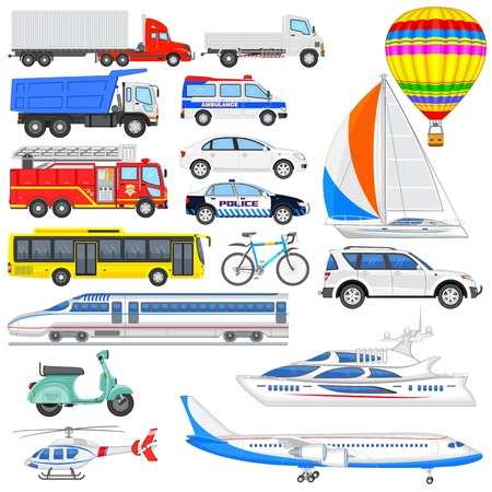 vector illustration of set of means of transport illustration