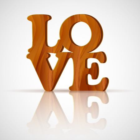 i nobody: vector illustration of wooden Love word