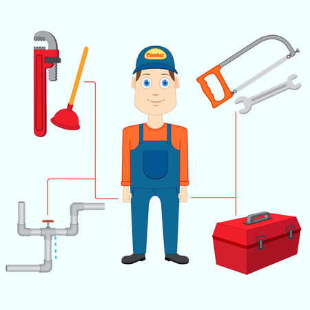maintenance technician: vector illustration of plumber with tool Stock Photo