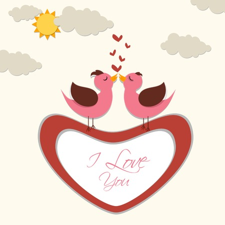 enamoured: vector illustration of pair of bird against love background Stock Photo
