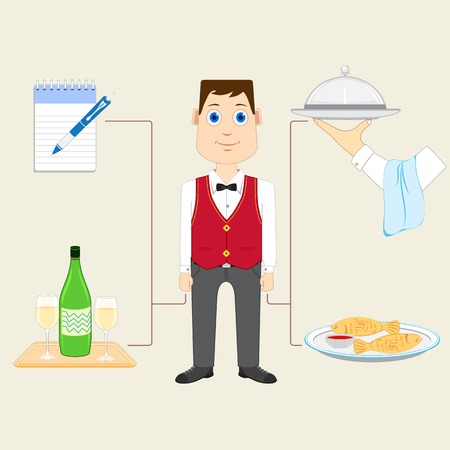 vector illustration of waiter with food and drink illustration