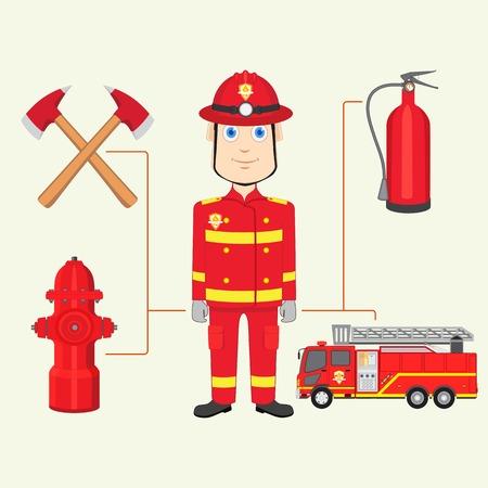 fire brigade: vector illustration of fireman with fire brigade
