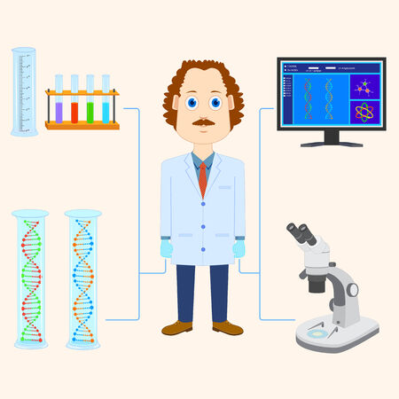 drug discovery: vector illustration of scientist scientific laboratory equipment
