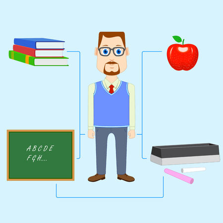 college professor: vector illustration of teacher with educational object