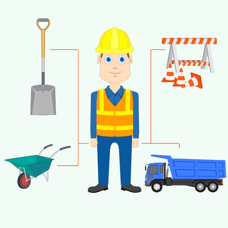 hat project: vector illustration of constructor with equipment and tool Stock Photo
