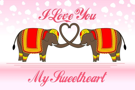 vector illustration of cute elephants forming heart shape illustration